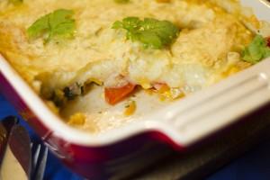grøntsager med kartoffellåg